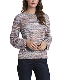 Women's Eyelash Knit Multicolor Tie Sleeve Top