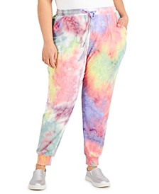 Plus Size Tie-Dyed Ribbed Paper-Bag Jogger Pants