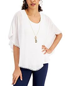 Gauze Necklace Poncho, Regular & Petite Sizes, Created for Macy's