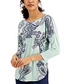 Paisley-Print Dolman-Sleeve Knit Top, Created for Macy's