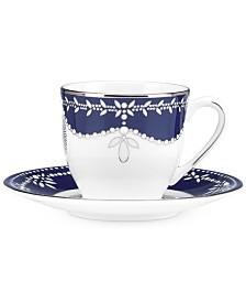 Marchesa by Lenox Empire Pearl Indigo Espresso Cup and Saucer Set
