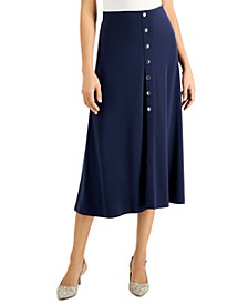 Solid Button-Front Midi Skirt, Created for Macy's