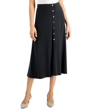 Solid Button-Front Midi Skirt
