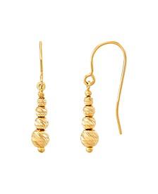 Polished Diamond Cut Graduated Beads Drop Earrings in 10K Yellow Gold