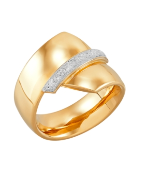 Polished Bypass Glitter Enamel Ring in 10K Yellow Gold