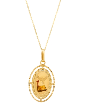 """Polished Diamond Cut Confirmation Medallion on 18"""" Chain in 14K Yellow Gold"""