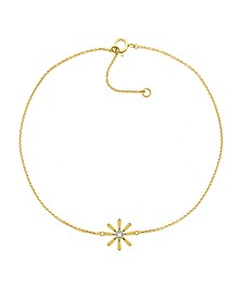 "Diamond Accent Flower Anklet In 14K Gold-Plated Sterling Silver , 9"" + 1"" extender"