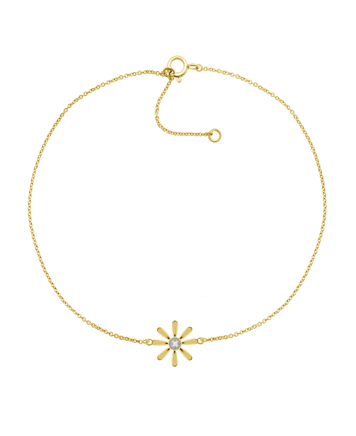 """Diamond Accent Flower Anklet In 14K Gold-Plated Sterling Silver, 9"""" + 1"""" extender"""