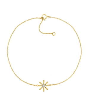 Diamond Accent Flower Anklet In 14K Gold-Plated Sterling Silver