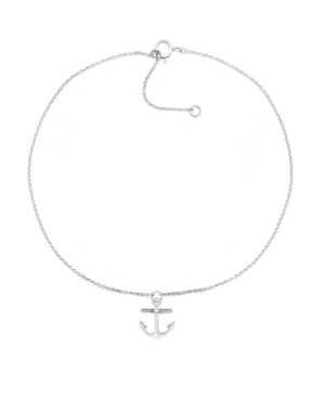 Diamond Accent Anchor Anklet in Sterling Silver