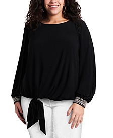 Plus Size Embellished-Cuff Tie-Front Blouse