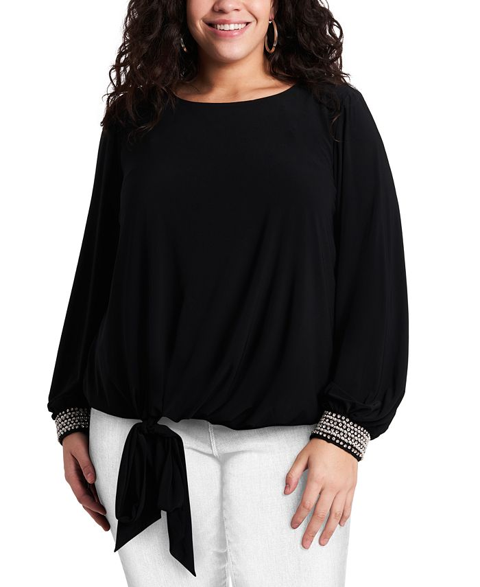 MSK - Plus Size Embellished-Cuff Tie-Front Blouse