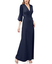 Shirred Crepe V-Neck Gown