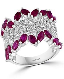 EFFY® Ruby (3-1/10 ct. t.w.) & Diamond (1/2 ct. t.w.) Statement Ring in 14k White Gold