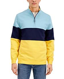 Men's Regular-Fit Colorblocked 1/4-Zip Fleece Sweatshirt, Created for Macy's