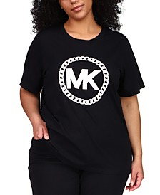 Plus Size MK Chain-Print Logo T-Shirt