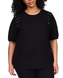 Plus Size Lace-Up Grommet T-Shirt
