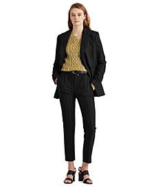 Pinstriped Wool-Blend Pants