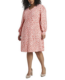 Women's Plus Size Long Sleeve Animal Reset Print V-Neck Dress