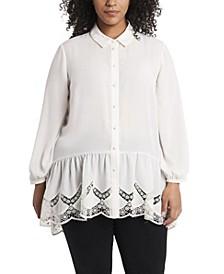 Women's Plus Size Long Sleeve Peplum Tunic with Lace