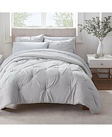 Simply Clean Antimicrobial Pleated Queen Bed in a Bag Set, 7 Piece
