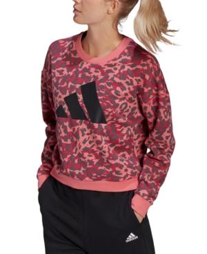 Adidas Originals ADIDAS WOMEN'S COTTON SPORTSWEAR LEOPARD-PRINT SWEATSHIRT
