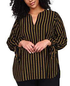 Plus Size Striped Chain Tie Top