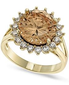 Gold-Plate Cubic Zirconia Split Halo Ring, Created for Macy's