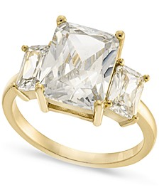 Gold-Plate Emerald-Crystal Triple Stone Ring, Created for Macy's