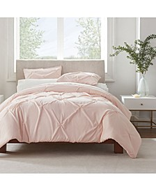 Simply Clean Antimicrobial Pleated Full and Queen Duvet Set,3 Piece