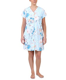 Plus Size Floral-Print Short Gripper Robe