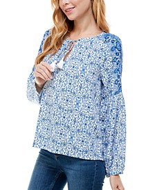 Juniors' Floral-Print Split-Neck Top