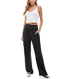 Juniors' Smocked Wide-leg Pants