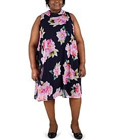 Plus Size Bow-Back Mock-Neck Trapeze Dress