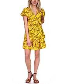 Chain-Print Wrap Dress