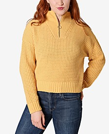 Juniors' Chenille Zip-Neck Sweater