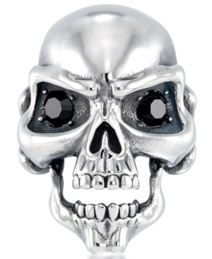 Men's Cubic Zirconia Signature Skull Ring in Stainless Steel