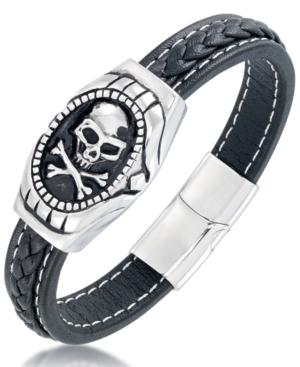 Men's Black Leather Skull Bracelet in Stainless Steel