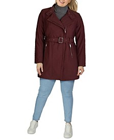 Women's Plus Size Asymmetrical Belted Rain Coat