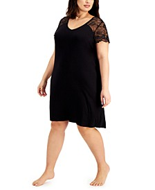 Plus Size Lace-Sleeve Nightgown, Created for Macy's
