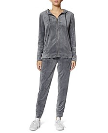 Women's Velour Hoodie Set, 2 Piece