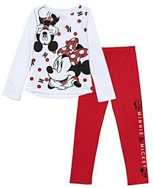 Little Girls Mickie Minnie 2 Piece Legging Set