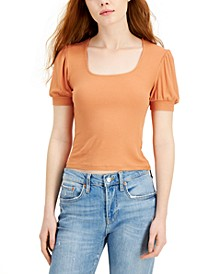 Juniors' Ribbed Puff-Sleeve Top
