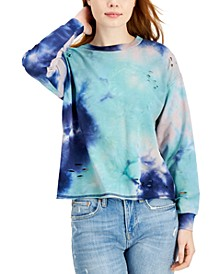 Juniors' Ripped Tie-Dyed Sweatshirt