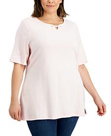 Plus Size Cotton Split-Neck T-Shirt, Created for Macy's