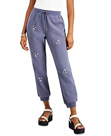 Juniors' Cotton Daisy-Embroidered Sweatpants