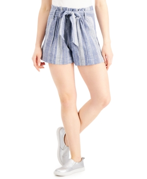 Juniors' Striped Belted Shorts