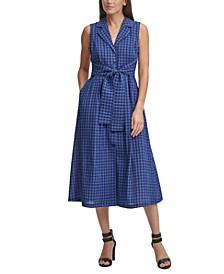 Checkered Tie-Waist Shirtdress