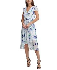 Faux-Wrap Flutter-Sleeve Dress