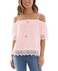 Juniors' Off-The-Shoulder Crochet Trim Top